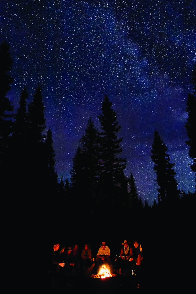 Starry Night Sky by Campfire at Sundance Lodge in Banff, Canadian Rockies