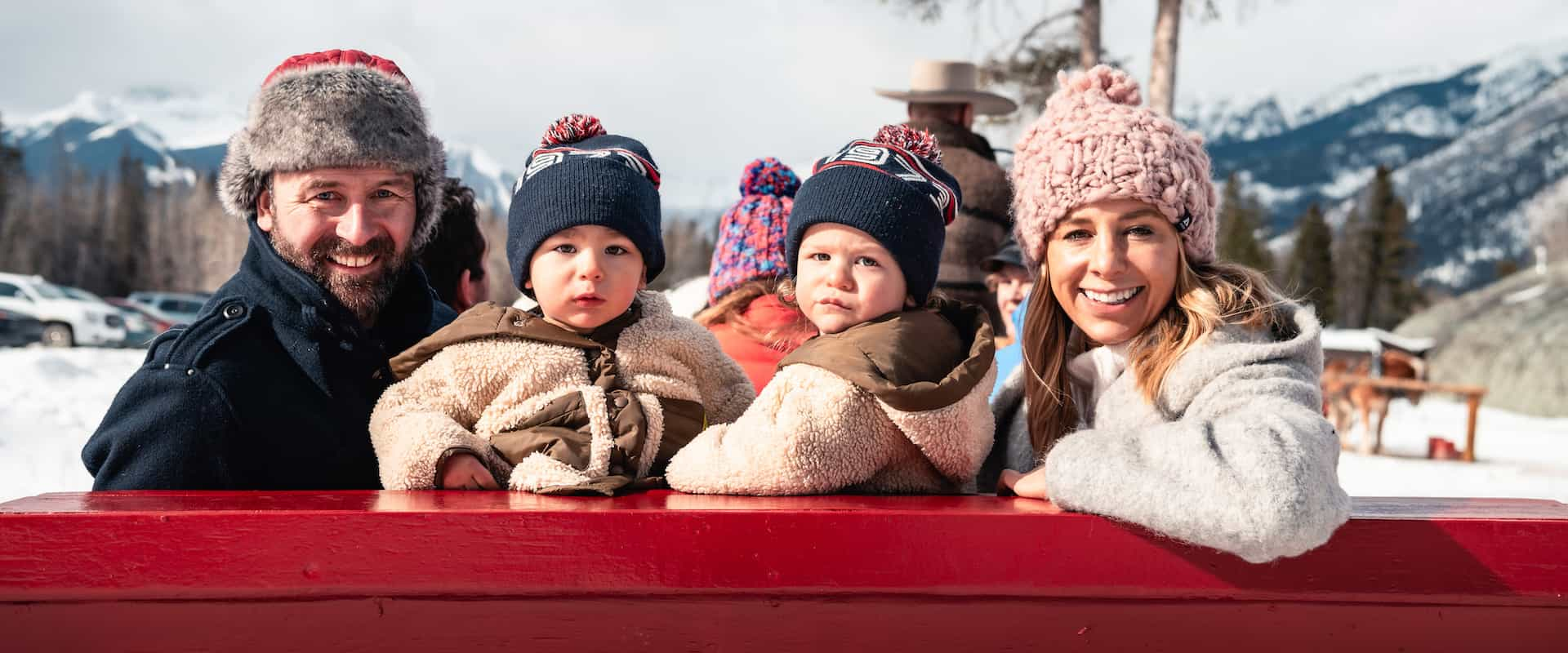 Banff family winter sleigh ride with Banff Trail Riders