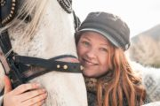 Pat the sleigh horses at Warner Stables with Banff Trail Riders
