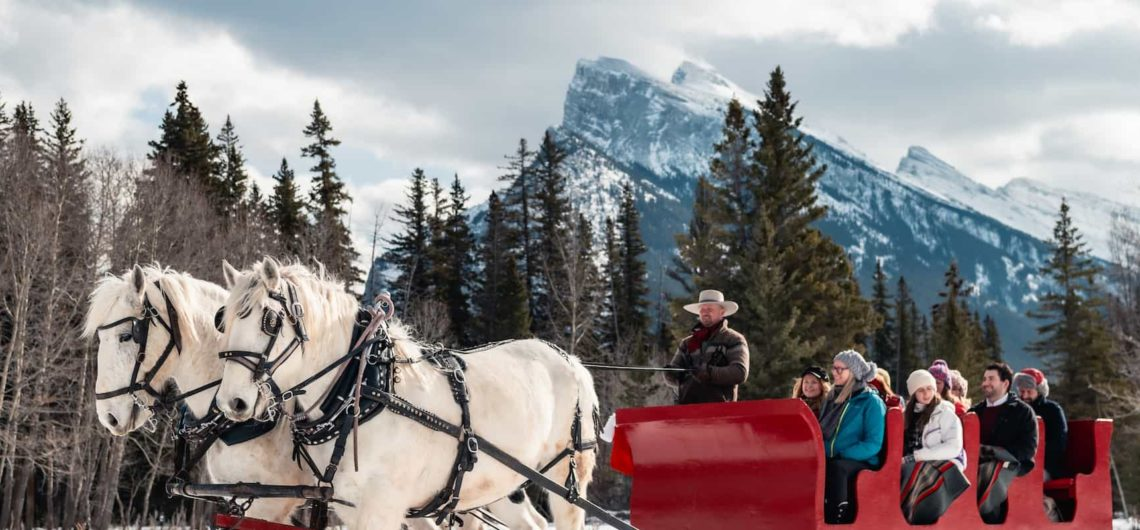 Winter sleigh ride in Banff with Banff Trail Riders
