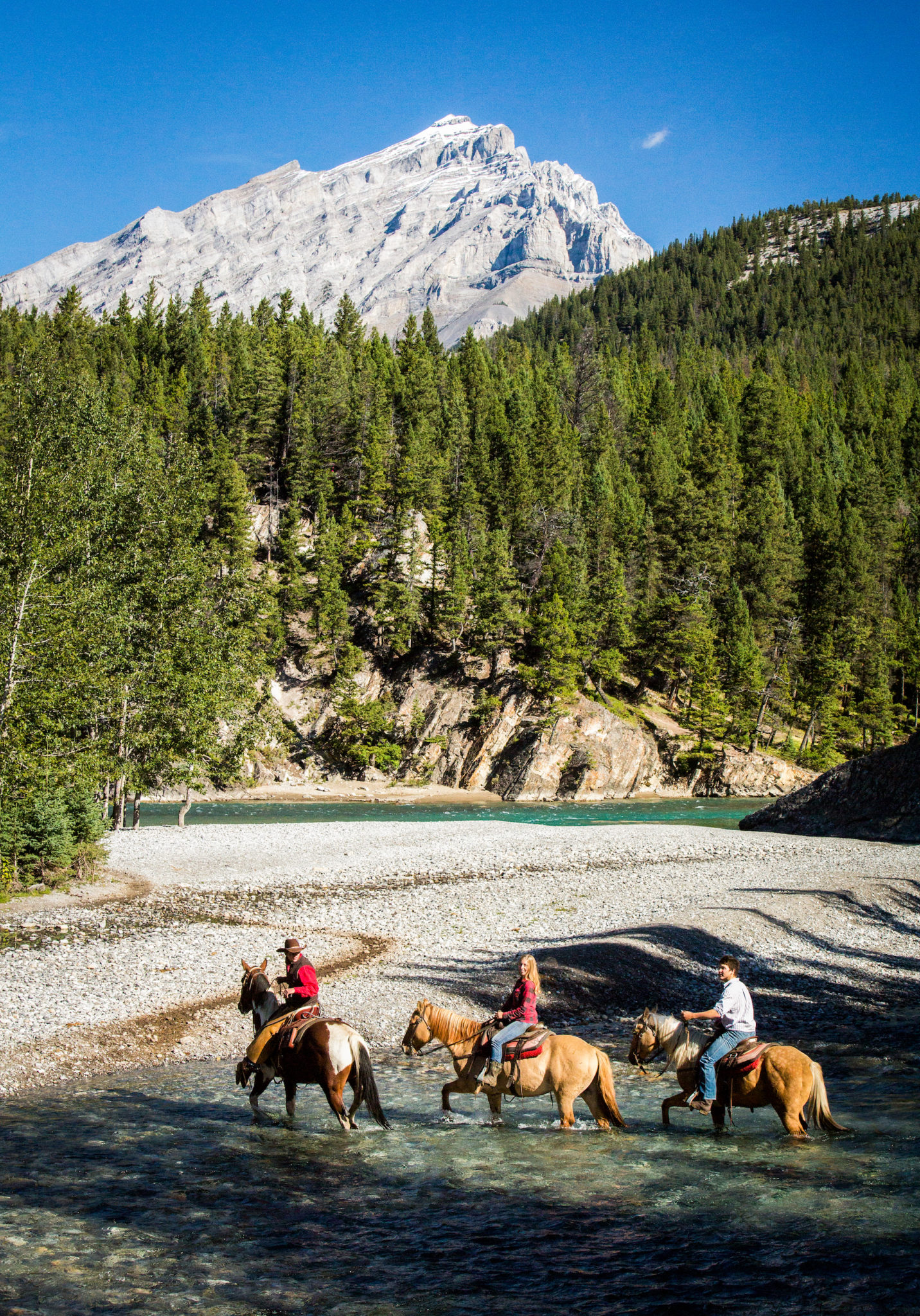 Crossing Spray River Horseback Banff Trail Riders