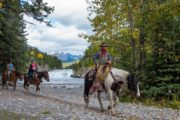Horseback ride by Bow Falls with Banff Trail Riders