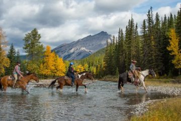 Spray River horseback trail ride with Banff Trail Riders