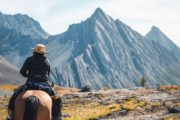 Allenby Pass mountain scenery with Banff Trail Riders in the Canadian Rockies
