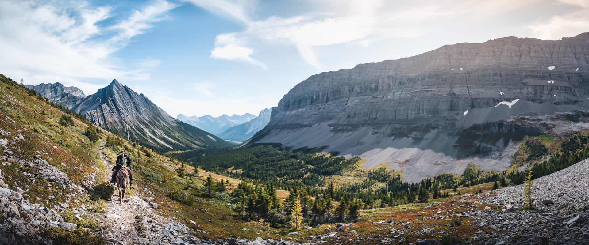 Return from Allenby Pass with panoramic views with Banff Trail Riders in the Canadian Rockies