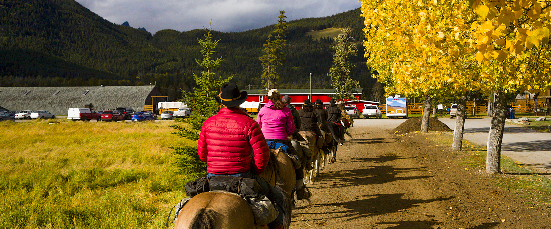 Returning Home to Warner Stables from the Sundance Overnight Backcountry Trip in Banff, Canadian Rockies with Banff Trail Riders