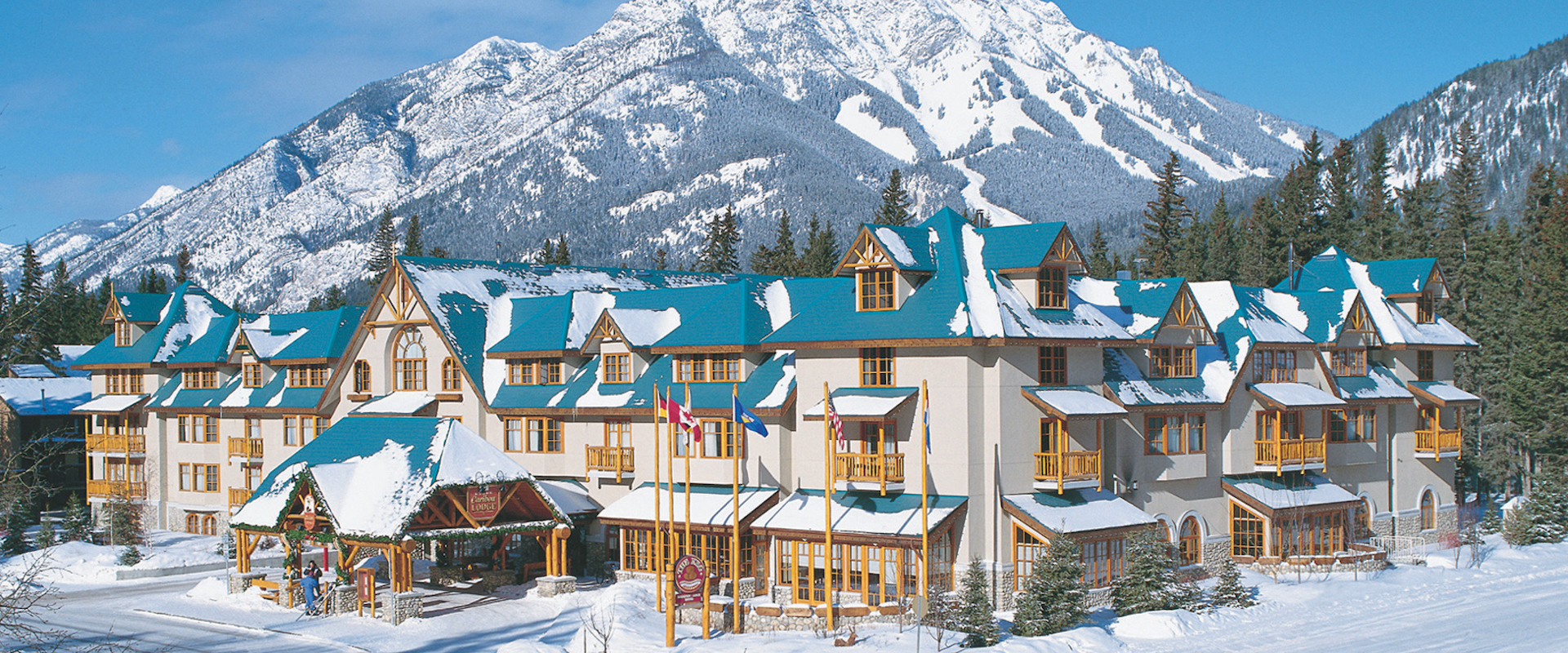 Banff Caribou Lodge Exterior in Winter in Banff, Canadian Rockies