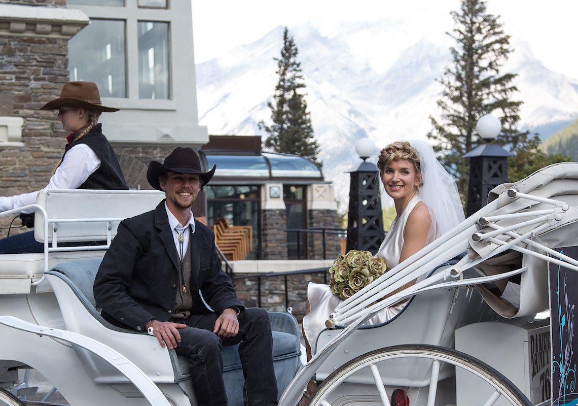 Banff Wedding Carriage Ride in Banff, Canadian Rockies with Banff Trail Riders