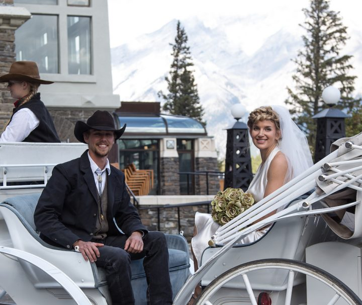 Banff Wedding Carriage Ride in Banff, Canadian Rockies with Banff Trail Riders