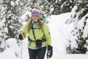 Cross country ski or snowshoe into Sundance Lodge in winter