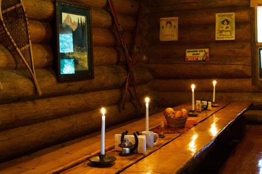 Cosy Dining at Sundance Backcountry Lodge in Banff, Canadian Rockies