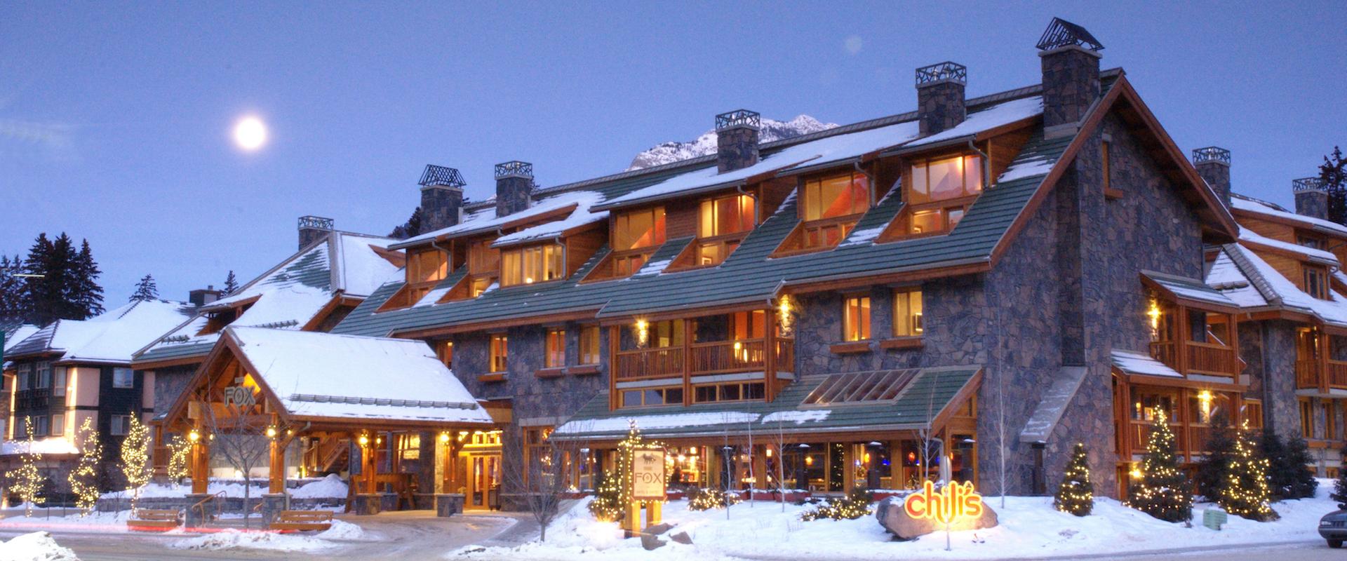 Fox Hotel Exterior in Winter in Banff, Canadian Rockies