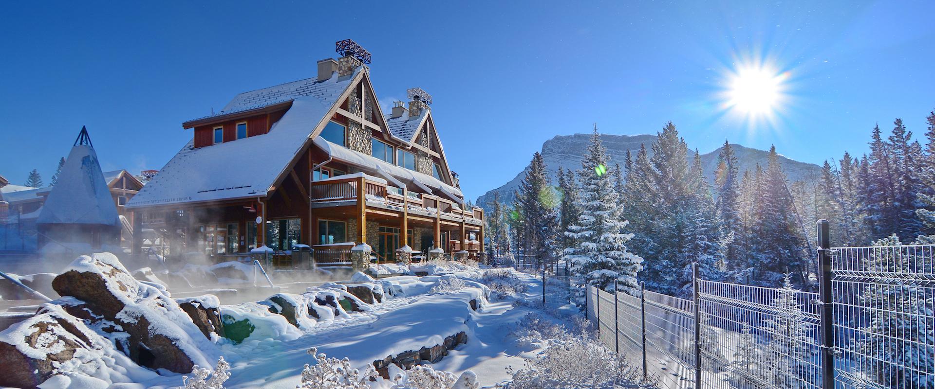 Hidden Ridge Resort Exterior in Winter in Banff, Canadian Rockies