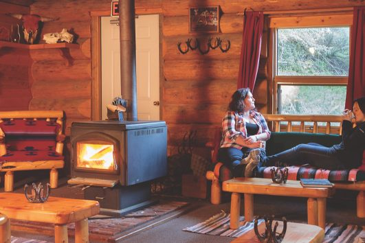 Relaxing at Sundance Backcountry Lodge in Banff, Canadian Rockies