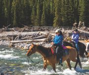 River Crossing on the Sundance Overnight Lodge Horseback Trip in Banff, Canadian Rockies with Banff Trail Riders