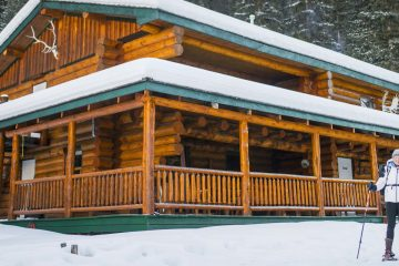 Snowshoers at Sundance Lodge in Banff, Canadian Rockies