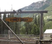 Stoney Creek Campsite Horse Corral in Banff, Canadian Rockies