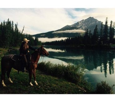 Katie G Corrals Foreman with Banff Trail Riders