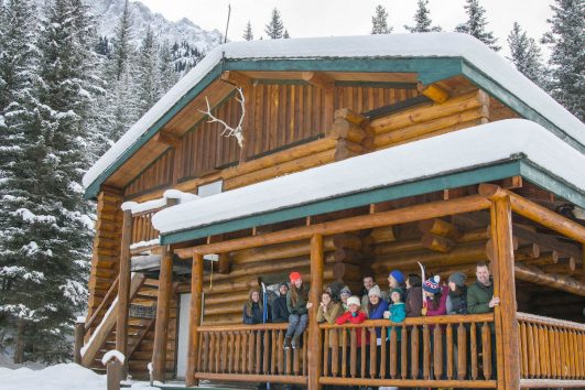 Group at Backcountry Sundance Lodge with Banff Trail Riders
