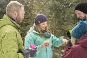 Enjoy maple cookies and hot chocolate on the Grotto Canyon Icewalk