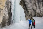 See frozen falls on the Grotto Canyon Icewalk