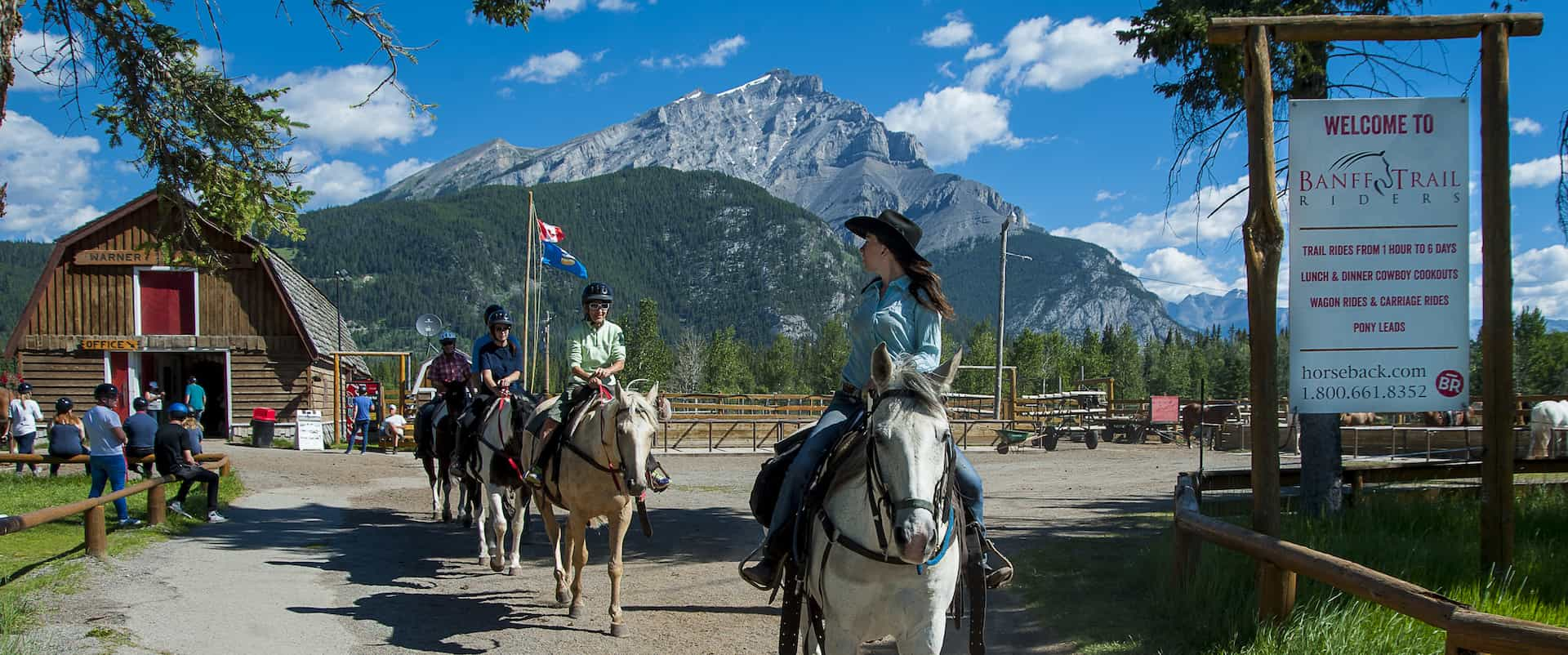 Take a guided Banff horseback ride with your friendly guide with Banff Trail Riders in the Canadian Rockies