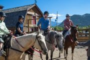 Your friendly guide will give you a brief riding instruction before your horseback ride with Banff Trail Riders in the Canadian Rockies