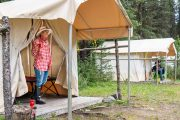 Enjoy a Coffee at Stoney Camp on the Stoney Creek Backcountry Tent Trip with Banff Trail Riders in the Canadian Rockies