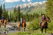 Arriving at Stoney Camp on the Stoney Creek Backcountry Tent Trip with Banff Trail Riders in the Canadian Rockies