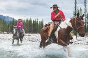Leaving Stoney Camp on the Stoney Creek Backcountry Tent Trip with Banff Trail Riders in the Canadian Rockies
