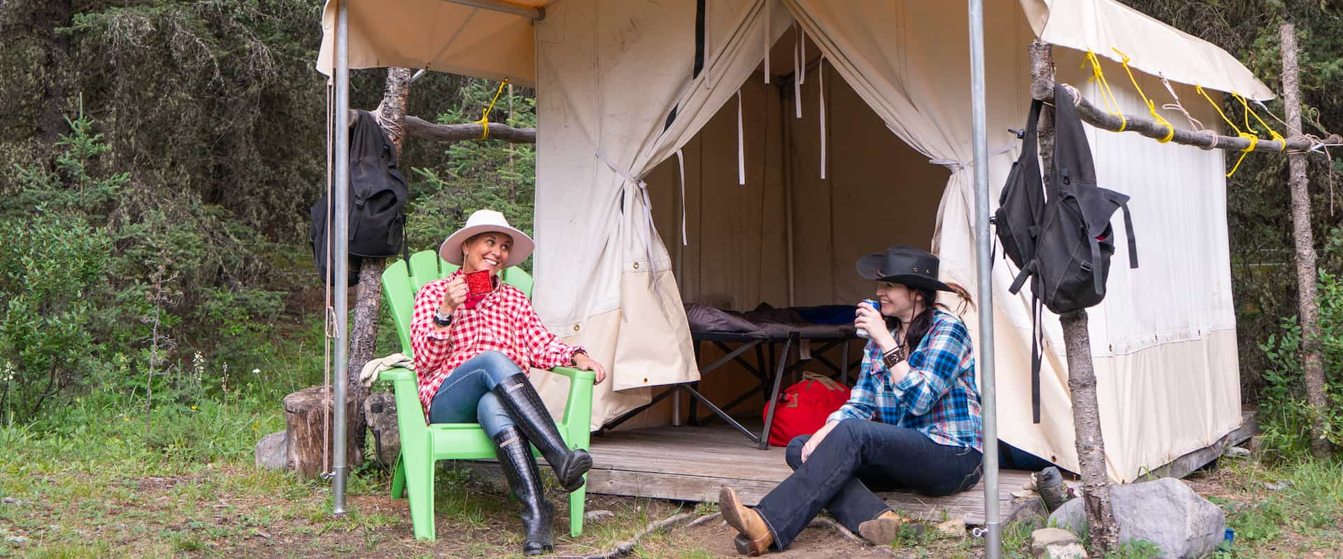 Relaxing at Stoney Tent on the Stoney Creek Backcountry Tent Trip with Banff Trail Riders in the Canadian Rockies