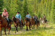 Returning to Camp on a Backcountry Trip with Banff Trail Riders in the Canadian Rockies