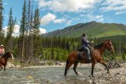 Leaving Stoney Camp for a day ride on the Stoney Creek Backcountry Tent Trip with Banff Trail Riders in the Canadian Rockies