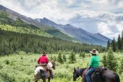 Leaving Stoney Camp and Heading to Flints Camp on the Cascade Valley Backcountry Tent Trip with Banff Trail Riders in the Canadian Rockies