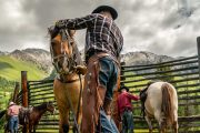Lunch Stop on the Cascade Valley Backcountry Tent Trip with Banff Trail Riders in the Canadian Rockies