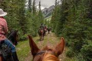 Riding to Flints Camp on the Cascade Valley Backcountry Tent Trip with Banff Trail Riders in the Canadian Rockies