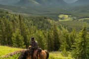 Cut Head Lake Day Ride from Flints Camp on the Casacde Valley Backcountry Tent Trip with Banff Trail Riders in the Canadian Rockies