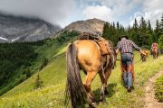 Day Ride Cuthead Lake from Flints Camp on the Cascade Valley Backcountry Tent Trip with Banff Trail Riders in the Canadian Rockies