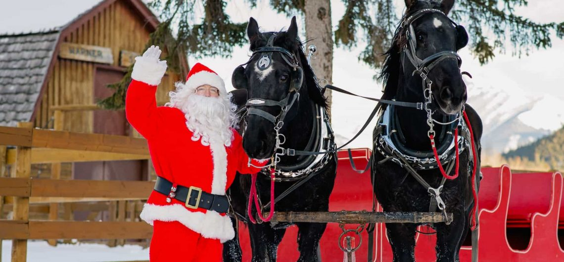 Meet Santa and the sleigh horses at the Banff Christmas Market at Warner Stables