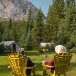 Relax at Flints Camp on the Cascade Valley Backcountry Tent Trip with Banff Trail Riders in the Canadian Rockies