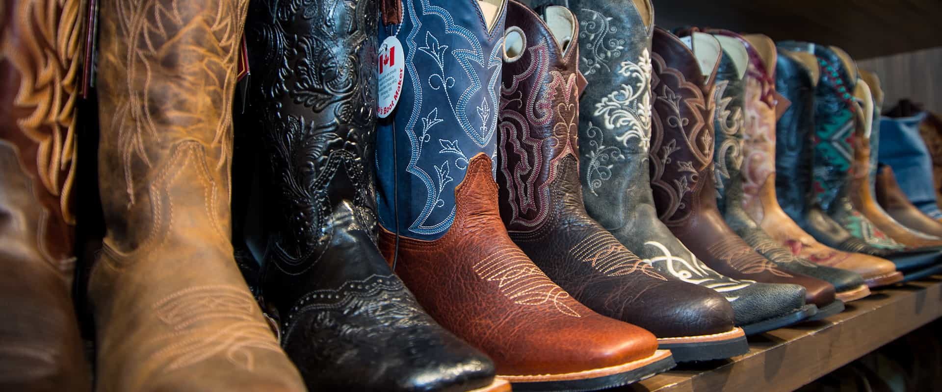 Choose from a variety of cowboy boots at the Trail Rider Store